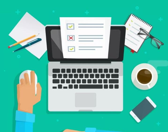 Dessin d'un ordinateur, café et documents